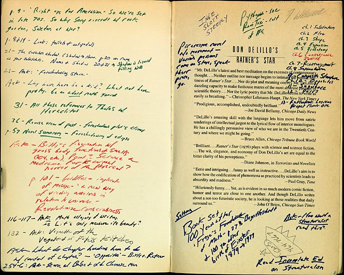 "David Foster Wallace's annotations of Don DeLillo's novel ""Ratner's Star"""
