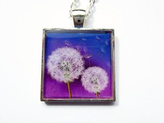 Dandelion Necklace  Purple Pendant  Resin by BecauseofAnnie, £12.00