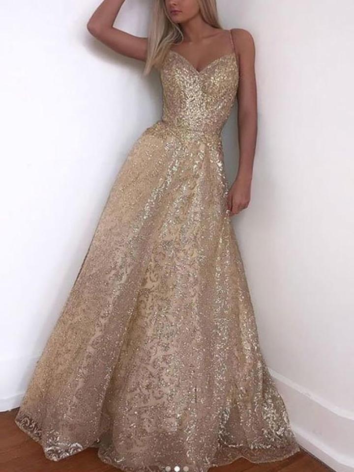Pendulares V Neck mangas nuas volta Paillette vestido de noite   – Prom