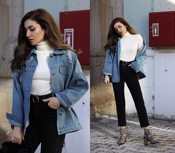 Get this look: http://lb.nu/look/8668221  More looks by Melike Gül: http://lb.nu/melikegul  Items in this look:  Romwe Denim Jacket, Romwe Turtleneck, Addax Jeans, Mango Sneakeskin Boots   #casual #grunge #street