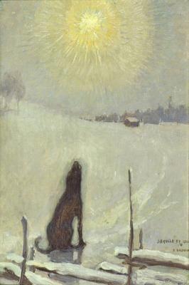 Koira ulvoo kuuta, Dog howling at the moon,  1899 - Pekka Halonen ( Finnish,1865-1933)