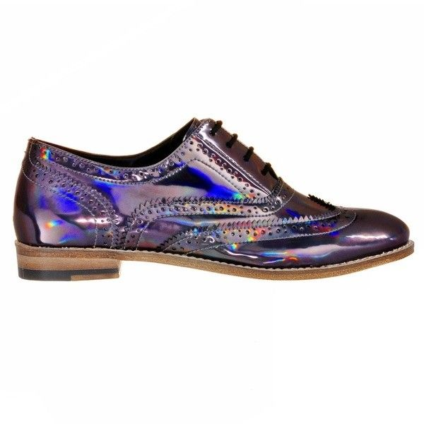 Lady's Brogue Shoes With Holographic Finish Luke Grant-Muller ($530) ❤ liked on Polyvore featuring shoes, oxfords, holographic oxford shoes, brogue oxford, brogue shoes, hologram shoes and balmoral shoes