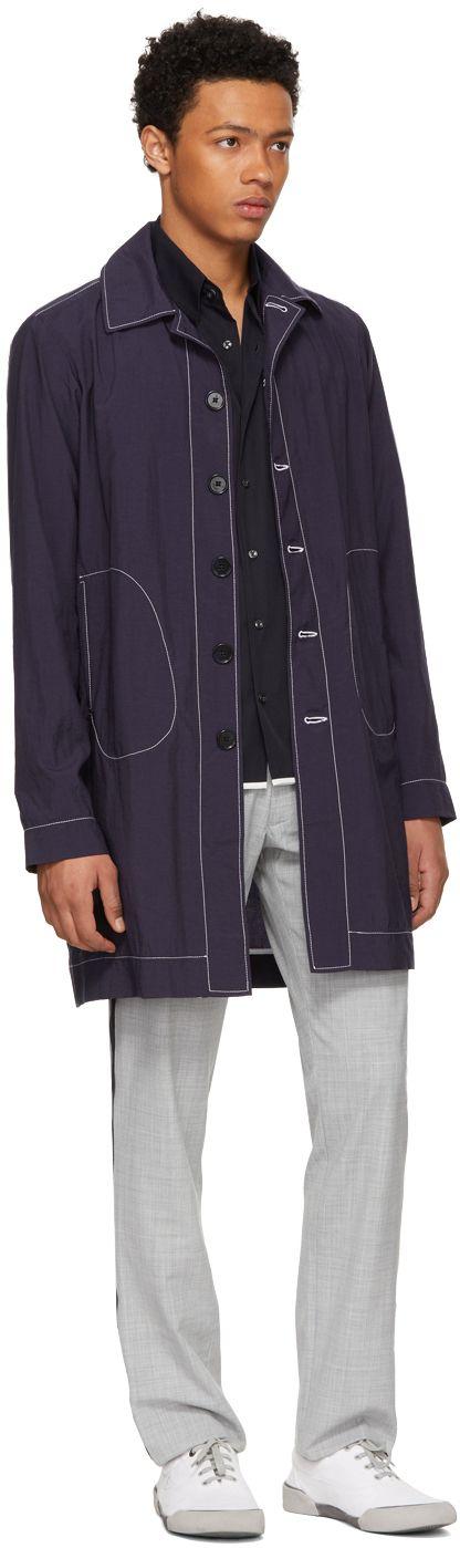 Daniel W. Fletcher - Navy Lightweight Tailored Mac Coat