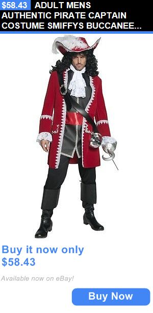 Men Costumes: Adult Mens Authentic Pirate Captain Costume Smiffys Buccaneer Hook Fancy Dress BUY IT NOW ONLY: $58.43