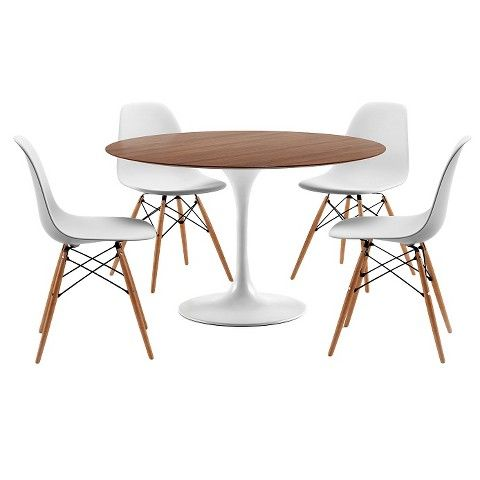 Catalina Modern Round Dining Table   Walnut, White