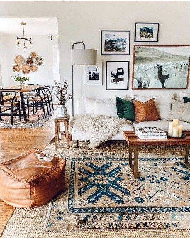 60 modern bohemian living room inspiration ideas 2…
