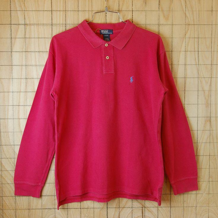 【Polo】古着コロンビア製ピンク(桃)メンズ長袖ポロシャツ【ポロ・ラルフローレン】