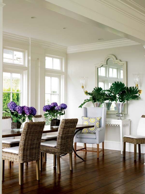 //Dining Rooms, Wall Colors, Mirrors, Modern Flower Arrangements, Coastal Home, Upholstered Chairs, Products Design, White Wall, New England Home