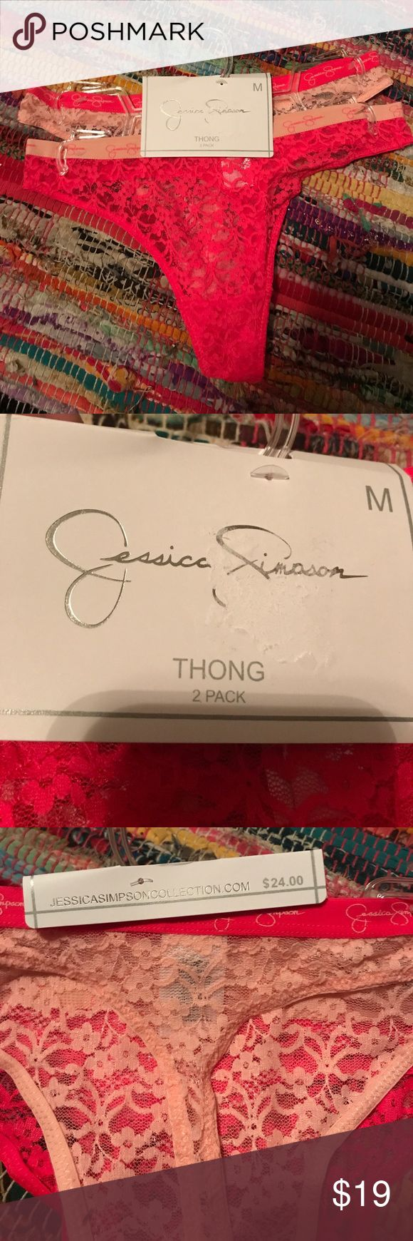 2 pack Jessica Simpson thongs NWT. Never been worn. light pink and hot pink floral print Lacey thongs. Still has the tags connected. The tag does have a mark/tear on it which is shown in photo Jessica Simpson Intimates & Sleepwear Panties