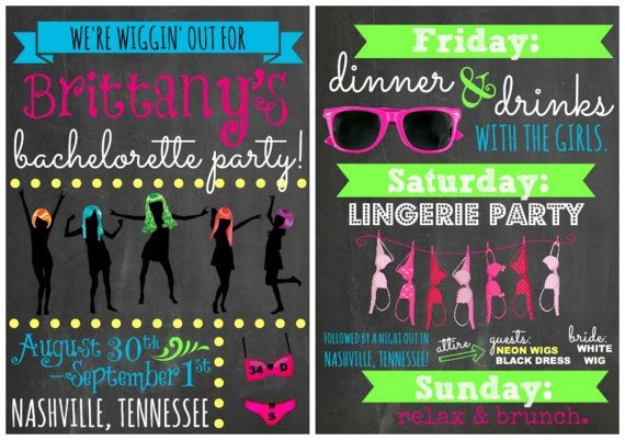 Custom Neon Wigging Out Themed Bachelorette Party By