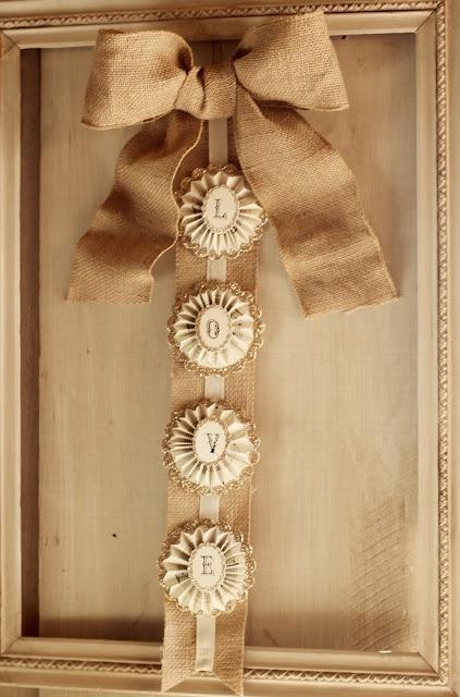 Pleated rosettes and burlap