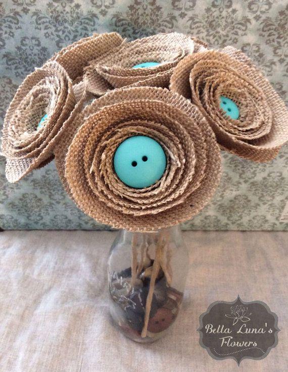 Burlap Flower Button Bouquet Stemmed - Centerpieces - Home Decor - Wedding Bouquet - Bride Bouquet - Burlap Flowers -