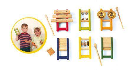 Primi strumenti musicali http://www.borgione.it/Educazione-musicale/Strumenti-musicali-per-i-piu-piccoli-in-legno/Primi-strumenti-musicali/ca_25878.html