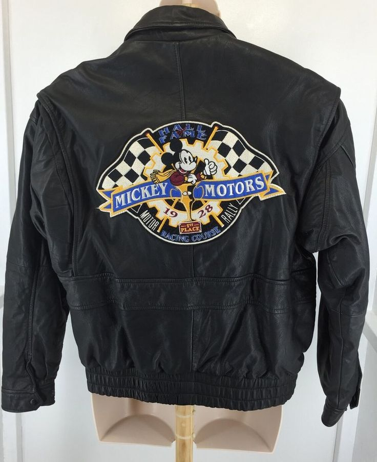 Vintage MEDIUM MIckey Mouse Motors Black Leather Bomber Jacket Motorcycle Coat