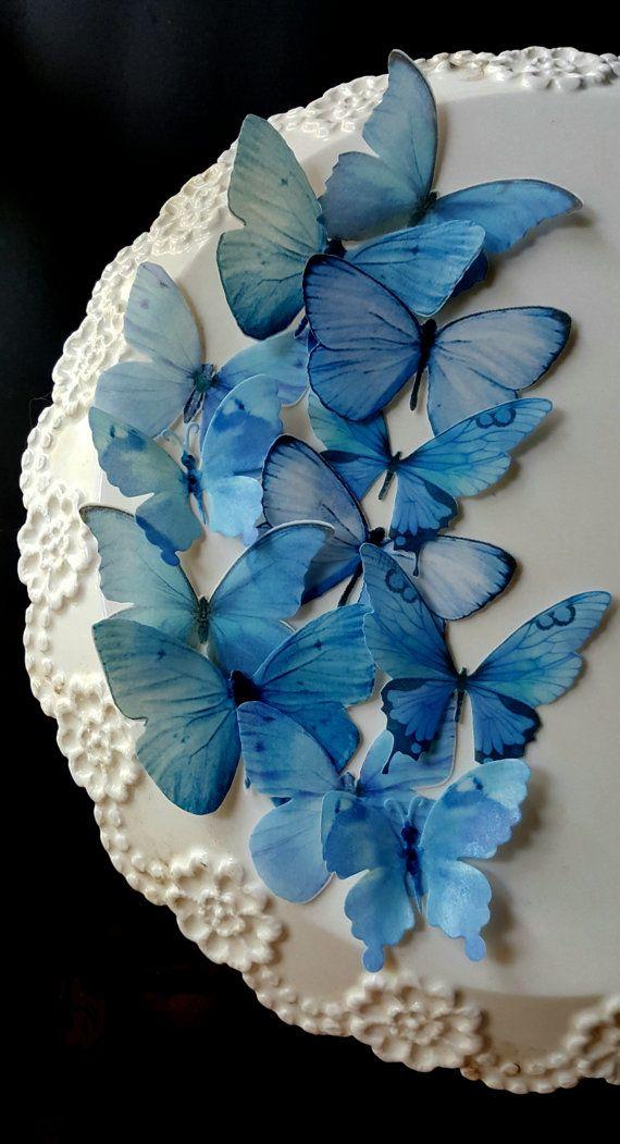 12 Edible Pastel Blue ButterfliesEdible Cake  Cupcake