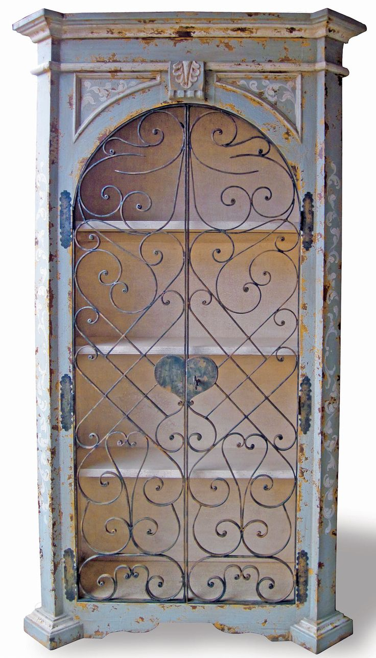 Old World Hand Painted Armoire, Wrought Iron