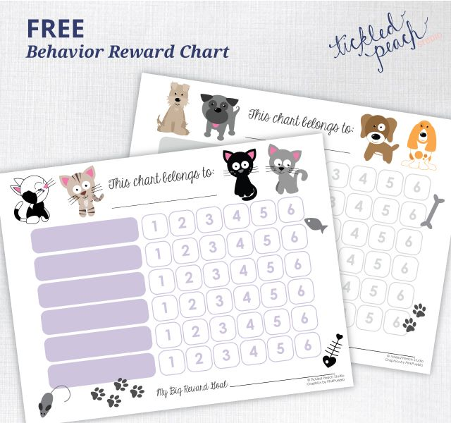 Free Printable Behavior Reward Chart | Tickled Peach Studio