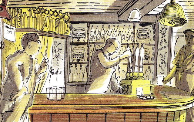 """Edward Bawden: """"The Bell"""" illustration from 'Life in an English Village', published in 1949 by King Penguin. The drawings are of Bawden's own adopted village, Great Bardfield in Essex."""