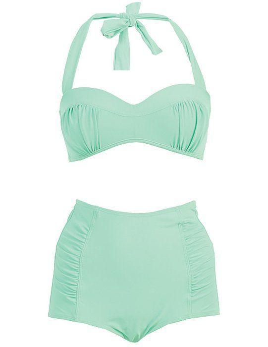Marina West Mold Bra High Waisted Bikini Swimsuit Set (SMALL, APPLE GREEN)
