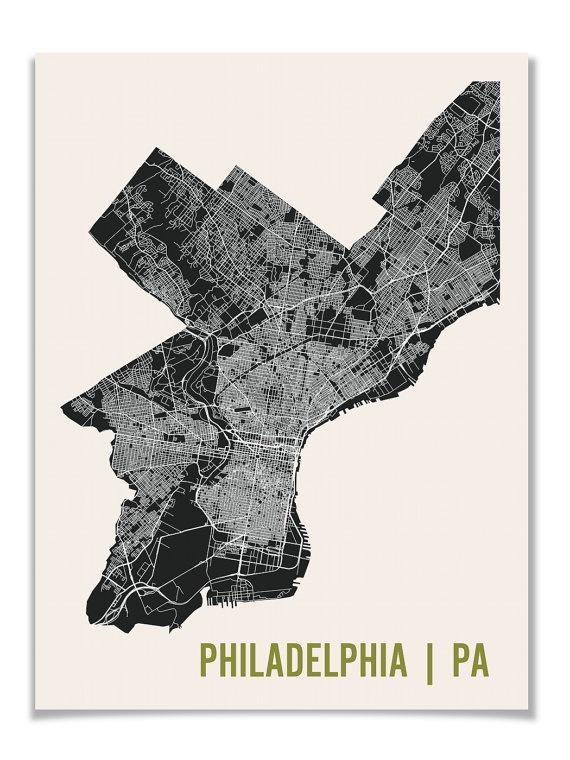 Philadelphia Map Art City Print, 18 x 24. $28.00, via Etsy.