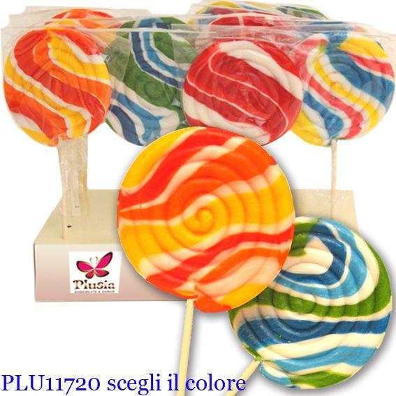 Lecca lecca spirale colori variegati ed allegri, prodotto da Plusia di Veggiano (Padova)