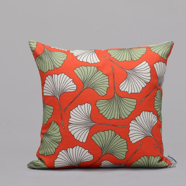 Gingko Biloba Fan Leaf Orange and Green Cushion Cover
