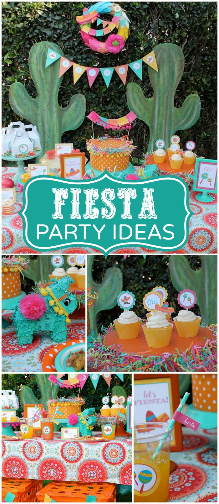 What a fun fiesta in orange, aqua, fuschia, and yellow! See more party ideas at CatchMyParty.com!