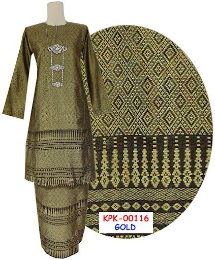 baju kurung pahang songket ( songket isimli dokuma kumaştan geleneksel giysi)