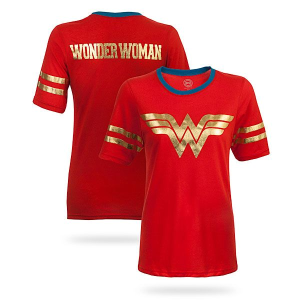 50% cotton and 50% polyester blend babydoll fit t-shirts with Batman, Superman, and Wonder Woman logos printed on the front with gold foil detailing.