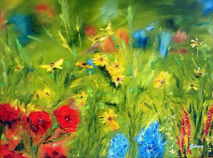 Купить Летнее настроение. - зеленый, желтые цветы, маки, люпины, трава, луговые цветы