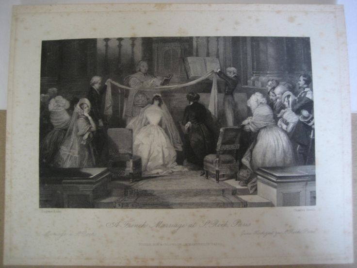 A French Marriage at St Roch, Paris, E. Lami, Print Engraving
