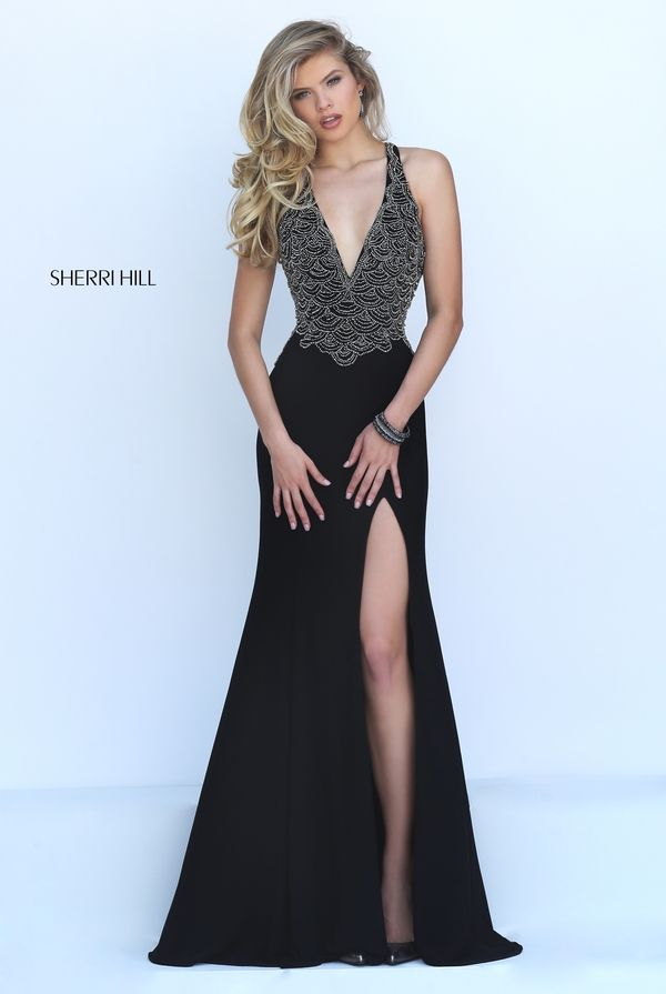 As seen in several publications, Sherri Hill 50215 sexy, sleek dress is one  that you won't be able to say no to! The deep V neckline is covered in  stunning ...