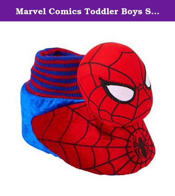 Marvel Comics Toddler Boys Spiderman Slippers Sock Top Character House Shoes. These fun red and blue toddler boys sock top Spiderman character slippers are sure to be a hit! Size: Toddler Boys Small (5-6), Medium (7-8), Large (9-10), or X-Large (11-12) Sock top house slippers Fabric bottoms with non-skid gripper dots .