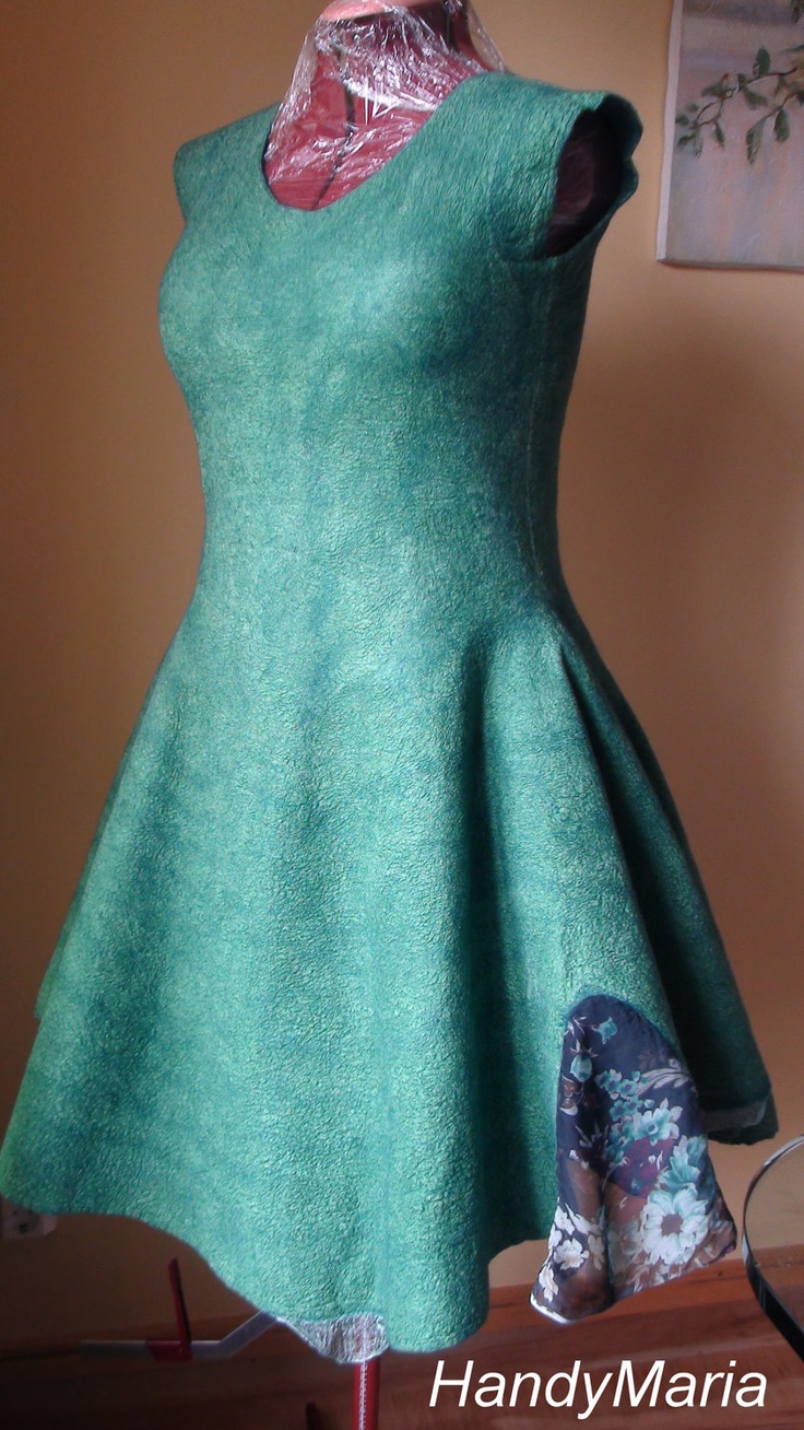 Nuno felted dress  teal green  Reversible  2 in 1 by HandyMaria, $269.00