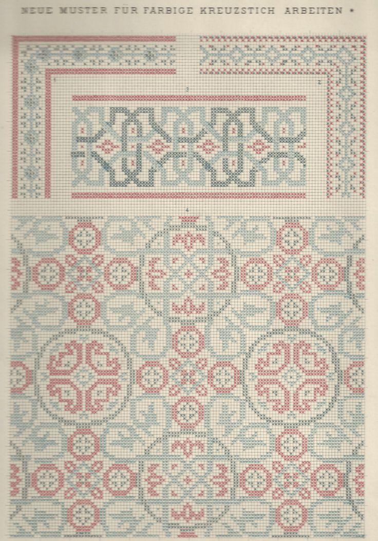 1 / Blatt 23 - Neue Muster-Vorlagen Fur Farbige Kreuzstich-Arbeiten - A. Scheffers - Published by J. M. Gebhardt's Verlag, Leopold Gebhardt, 1887