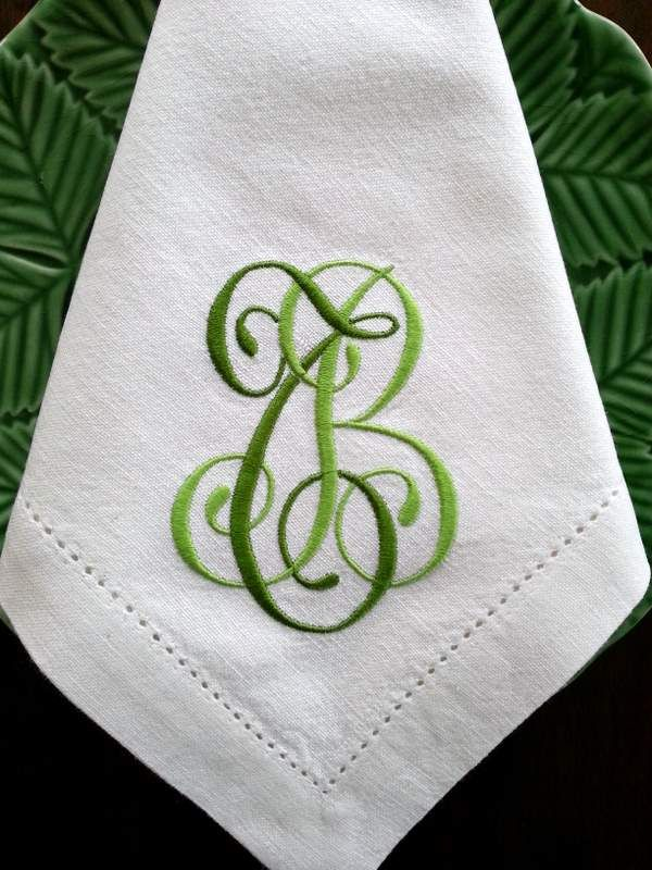Great Napkin Monogram With Two Shades Of Green