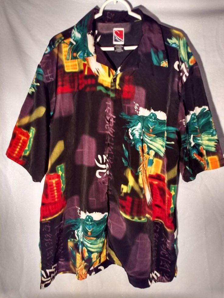 Asian mens camp shirt anime samauri ninja graphic hawaiian