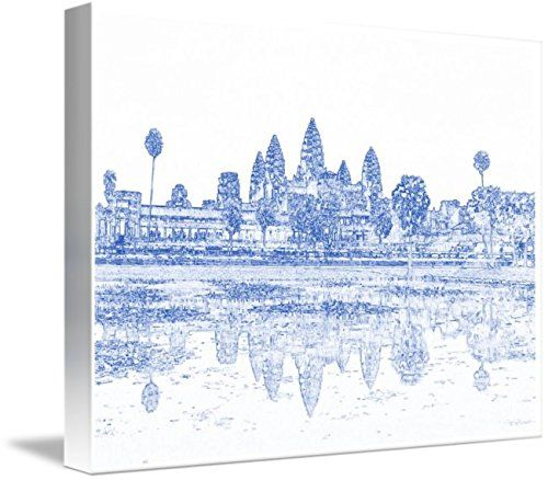 Wall Art Print entitled Blueprint Drawing Of Ancient Angkor Antique Archeo by Celestial Images | 48 x 36