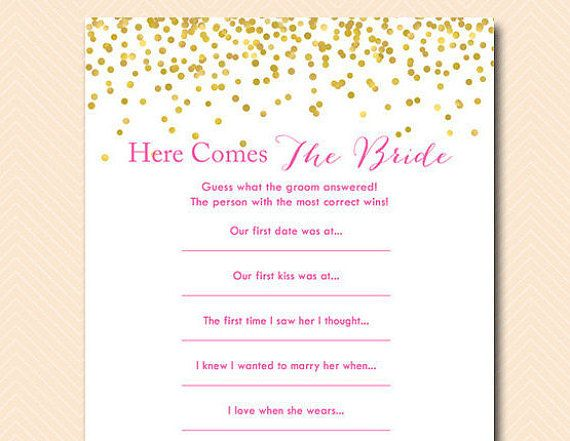 Here comes the bride game guess what groom said bridal for Non traditional bridal shower games