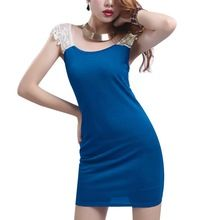 Women Scoop Neck Sleeveless Lace Splice Top Form-fitting Mini Dress(China (Mainland))
