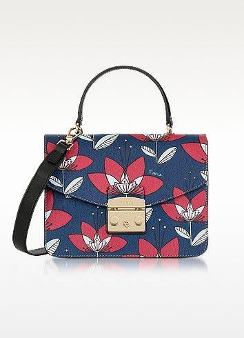 FURLA Floral Printed Blue Leather Metropolis S Top Handle Bag. #furla #bags #shoulder bags #hand bags #canvas #leather #lining #