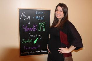 19 weeks pregnant chalkboard and baby bump