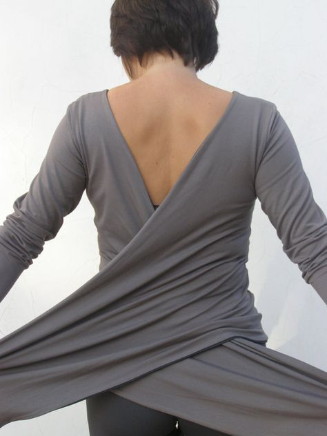Double layered top-Grey Women's top/shirt-6 ways wrap top/shirt/cardigan - SNUGGLE UP TOP-Maternity top- midi/ long sleeves made to order on Etsy, $140.00