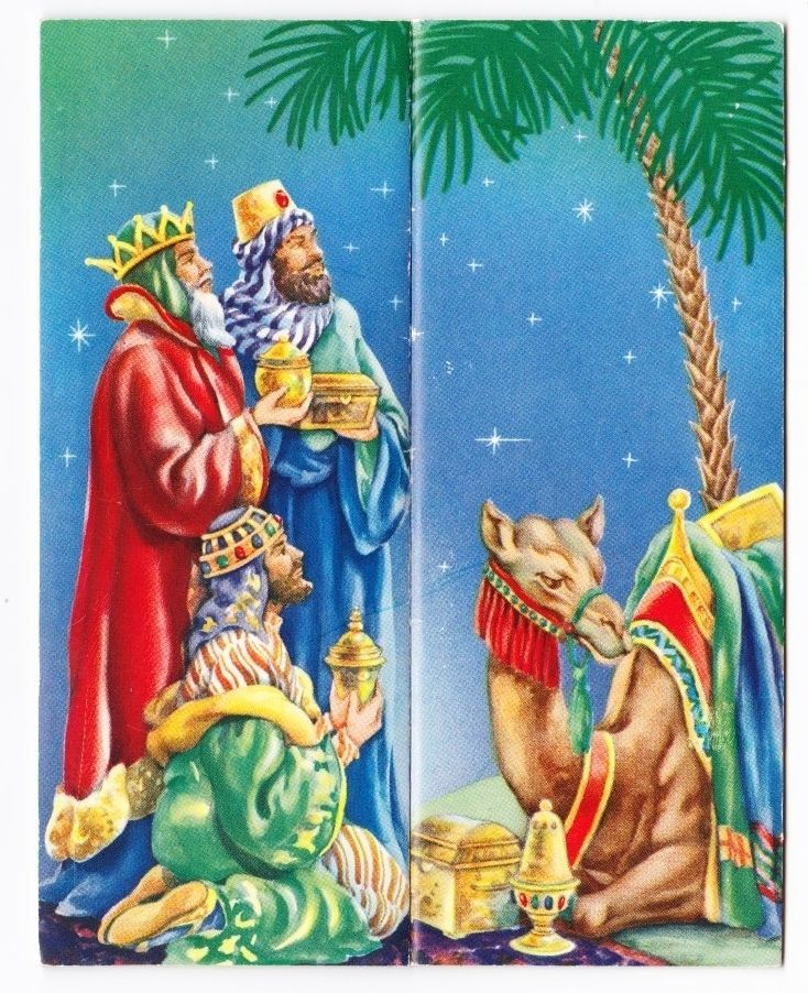 Vintage Greeting Card Christmas - 3 Kings & camel - fold out
