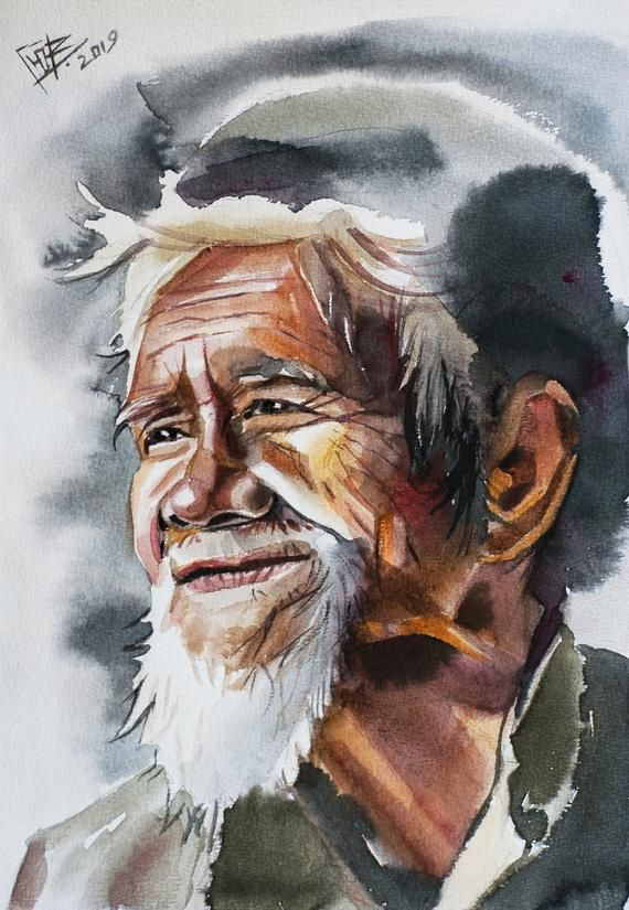 Watercolor Portrait Original Watercolor Painting Bearded Man