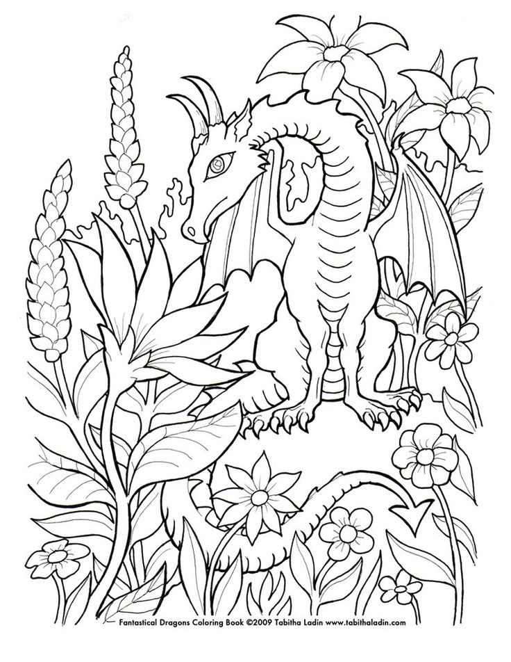 hand drawn with ink on paper feel free to color but please give me credit if you post it flower dragon coloring page