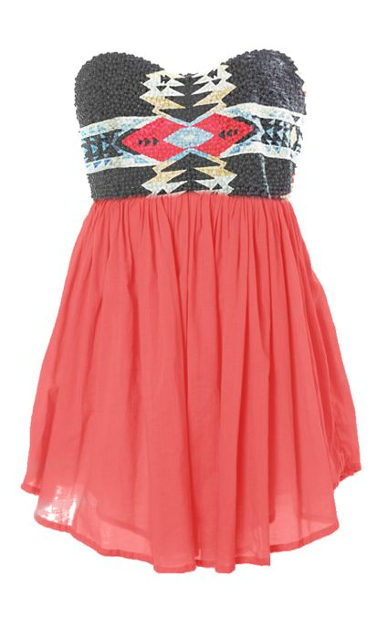 :: Coral Dress, Fashion, Style, Clothes, Color, Tribal Dress, Aztec Dress, Cute Summer Dresses, Tribal Prints