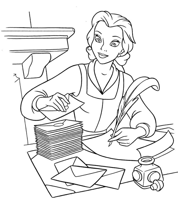 87 Coloring Pages Disney Belle