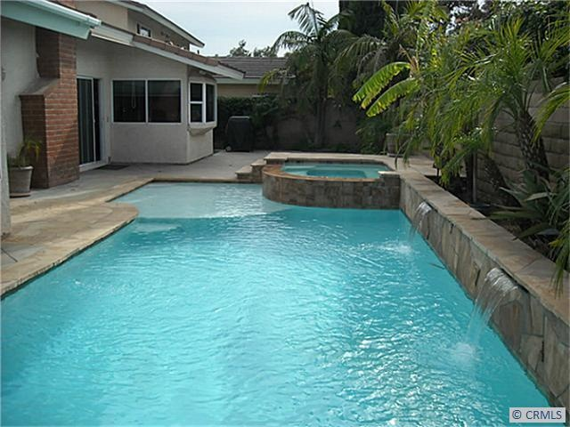 Rectangular Pool W Spa Baja Step Backyard