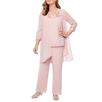 maya brooke 3 pc pant set color dusty rose jcpenney mother